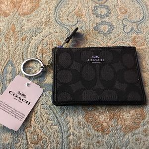 Coach leather & canvas logo zipper cardholder NWT